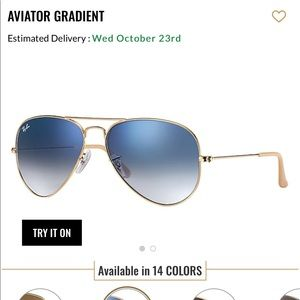 Ray Ban Aviator Gradient in Blue/Gold